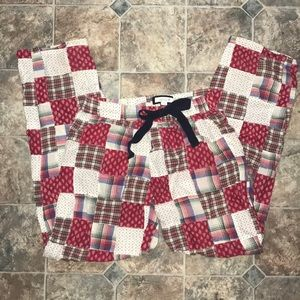 Aerie XS winter holiday patchwork pj pants